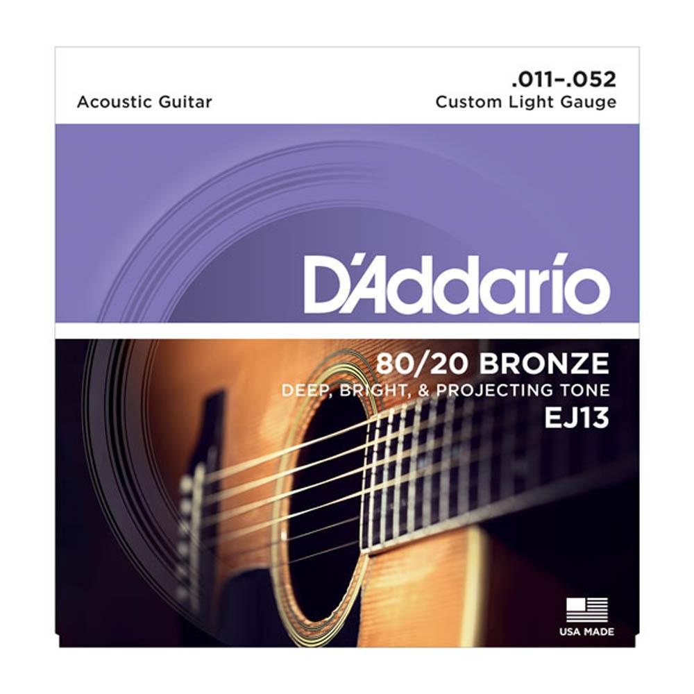 Encordoamento D'addario EJ13 11-52 Bronze Custom Light Violão