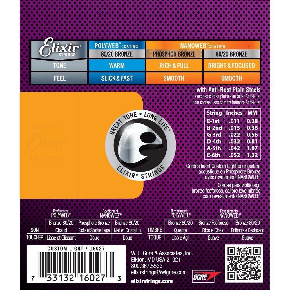 Encordoamento Elixir Custom Light 011 Phosphor Bronze Violão Aço