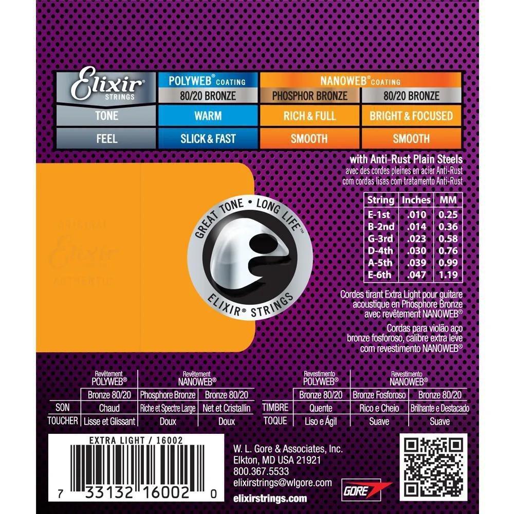 Encordoamento Elixir Extra Light 010 Phosphor Bronze Violão Aço