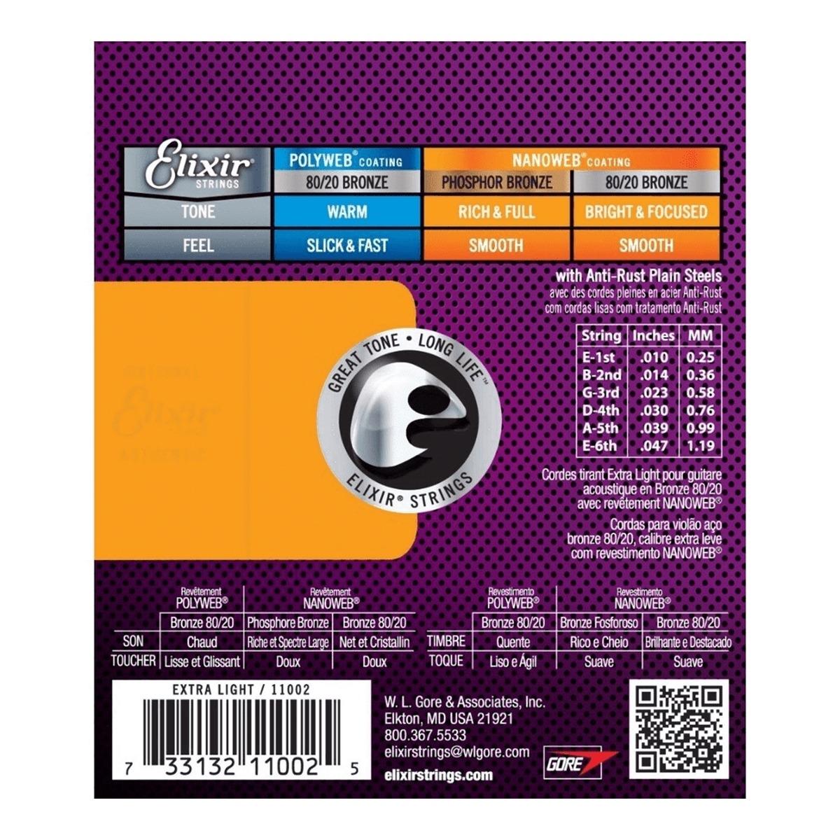 Encordoamento Elixir Extra Light 010 Violão Aço