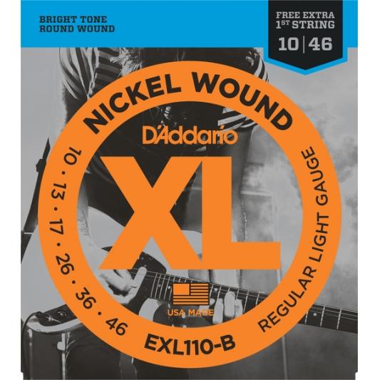Encordoamento Guitarra Daddario Exl 110-B  Xl Nickel 10-46 + Corda 1ª Grátis