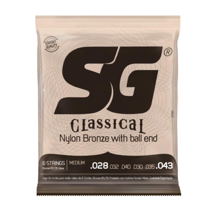 Encordoamento SG para Violão 028 Nylon Bronze 65/35 Tensão Média c/ Bolinha