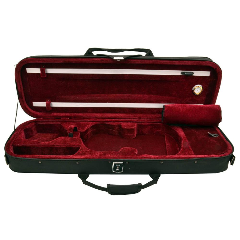 Estojo Retangular Zion Luxo Violino 4/4 Preto E Vermelho Escuro Com Higrômetro