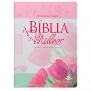 A Bíblia da Mulher | ARC | Capa Couro Bonded | Rosa Claro