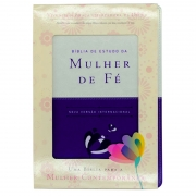Bíblia De Estudo Da Mulher De Fé | NVI | Com Índice | Luxo | Capa Pu Violeta E Bege