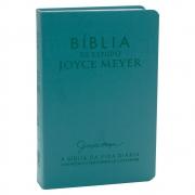 Bíblia de Estudo Joyce Meyer | Nvi | Luxo | Capa Pu | Azul Tifany