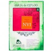 Bíblia De Estudo | NVI | Capa Luxo | Rosa E Laranja
