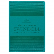 Bíblia De Estudo Swindoll Aqua | NVT | Capa Pu | Letra Normal | Verde