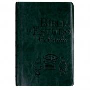 Bíblia Estudo Colorida   NVI   Capa Luxo   Letra Grande   Verde