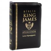 Bíblia King James Atualizada | Bkja | Zíper | Letra Hipergigante | Capa Pu Preta