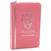 Bíblia King James Atualizada | Bkja | Zíper | Letra Hipergigante | Capa Pu Rosa