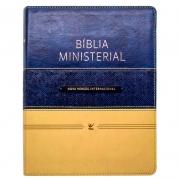 Bíblia Ministerial | NVI | Capa Pu | Azul E Bege