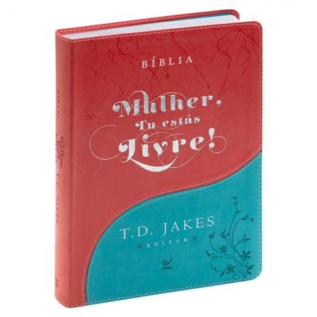 Bíblia Mulher Tu Estás Livre | Aec | Luxo | Azul Turquesa e Vermelha