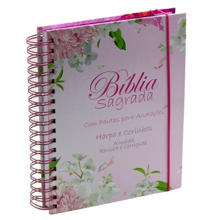 Bíblia para Anotações | Harpa e Corinhos | Arc | Floral Dália | Capa Dura Espiral Rosa