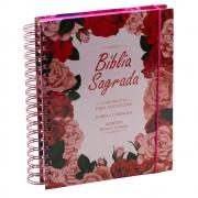 Bíblia Para Anotações | Harpa e Corinhos | Arc | Floral Rosa | Capa Dura Espiral Rosa