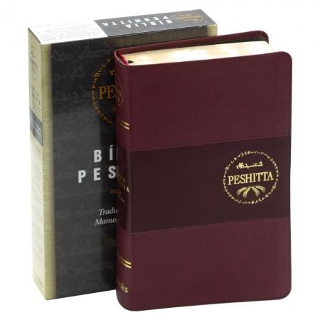 Bíblia Peshitta | Com Referências | Capa Couro Sintético | Vinho