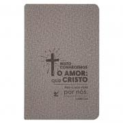 Bíblia Sagrada | AEC | Cruz | Letras Vermelhas | Capa Pu Cinza