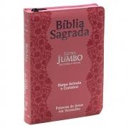 Bíblia Sagrada | Arc | Zíper | Flores | Letra Jumbo | Capa Pu Rosa
