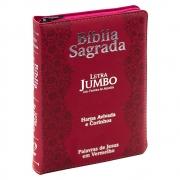 Bíblia Sagrada | Arc | Zíper  | Letra Jumbo | Capa Pu | Flores | Vermelha