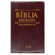 Bíblia Sagrada Com Referências   SBU   Capa Couro Sintético   Marrom