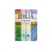 Bíblia Sagrada Cruz Com Índice   NAA   Capa Semiflexível   Letra Gigante   Verde Água