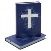 Bíblia Sagrada Cruz Prata | ARA | Capa Dura | Azul