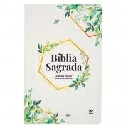Bíblia Sagrada Folhagem | AEC | Letras Vermelhas | Capa Semiluxo