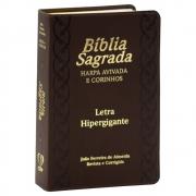 Bíblia Sagrada | Harpa Avivada E Corinhos | ARC | Com Índice | Letra Hipergigante | Capa Pu Marrom