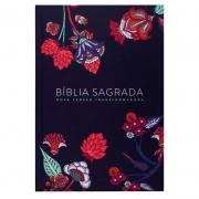 Bíblia Sagrada Indian Flowers | NVT | Capa Dura | Azul Marinho