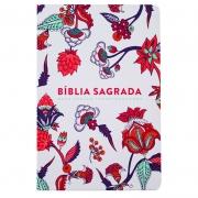 Bíblia Sagrada Indian Flowers | NVT | Capa Semiflexível | Branca