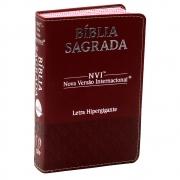 Bíblia Sagrada Luxo | NVI | Letra Hipergigante | Capa Pu | Bordô