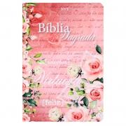 Bíblia Sagrada Mulher Virtuosa | NVT | Flores |  Capa Soft Touch Rosa