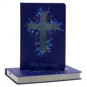 Bíblia Sagrada | NAA | Cruz | Capa Dura | Azul