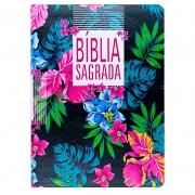 Bíblia Sagrada | NAA | Slim | Flor | Letra Grande | Capa Couro Sintético Preta