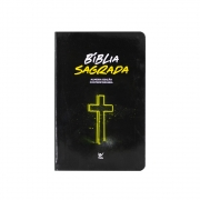 Bíblia Sagrada Neon | AEC | Letras Vermelhas | Capa Semiluxo