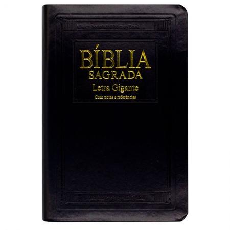 Bíblia Sagrada Notas E Referências Com Índice | ARA | Capa Couro Sintético | Letra Gigante | Preta