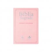 Bíblia Sagrada Slim | NAA | Capa Couro | Rosa Claro