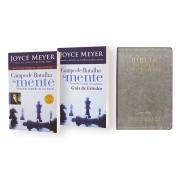 Kit Bíblia Joyce Meyer + Campo Da Batalha Da Mente + Guia De Estudos