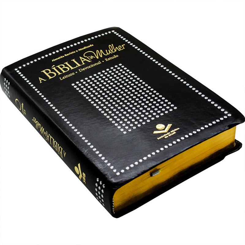 A Bíblia da Mulher   ARA   Leitura - Devocional - Estudo   Capa Couro Sintético Preta