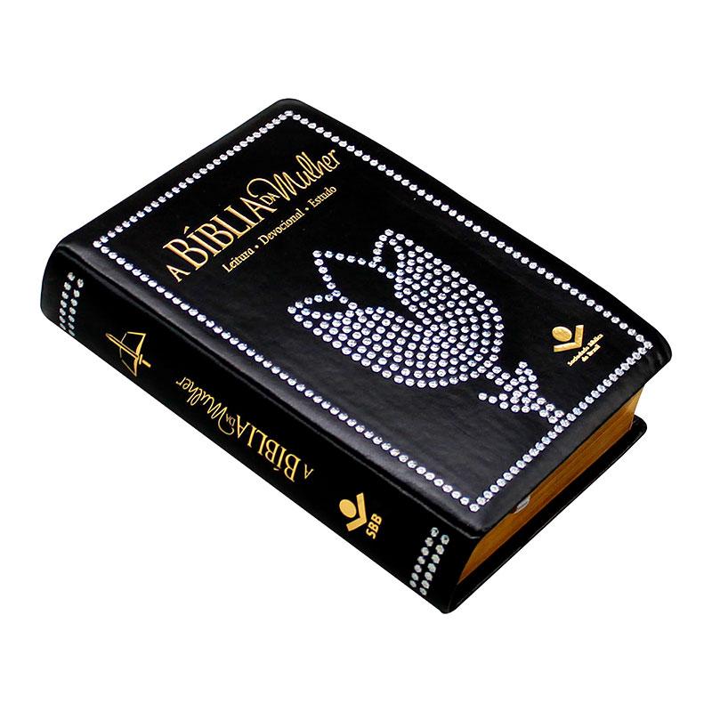 A Bíblia da Mulher Devocional Estudo   ARC   Capa Couro Sintético   Preta