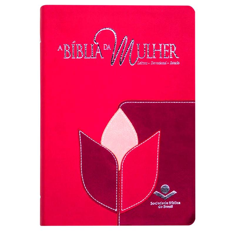 A Bíblia Da Mulher - Flor   ARC   Couro Sintético   Goiaba