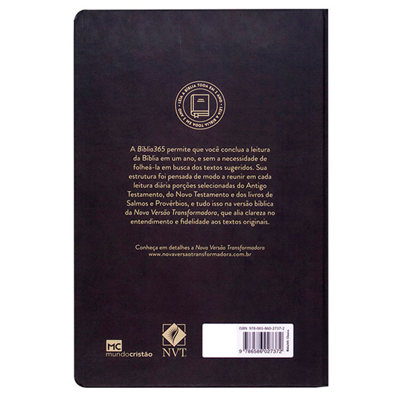 Bíblia 365 Clássica   Nvt   Capa Dura   Preta