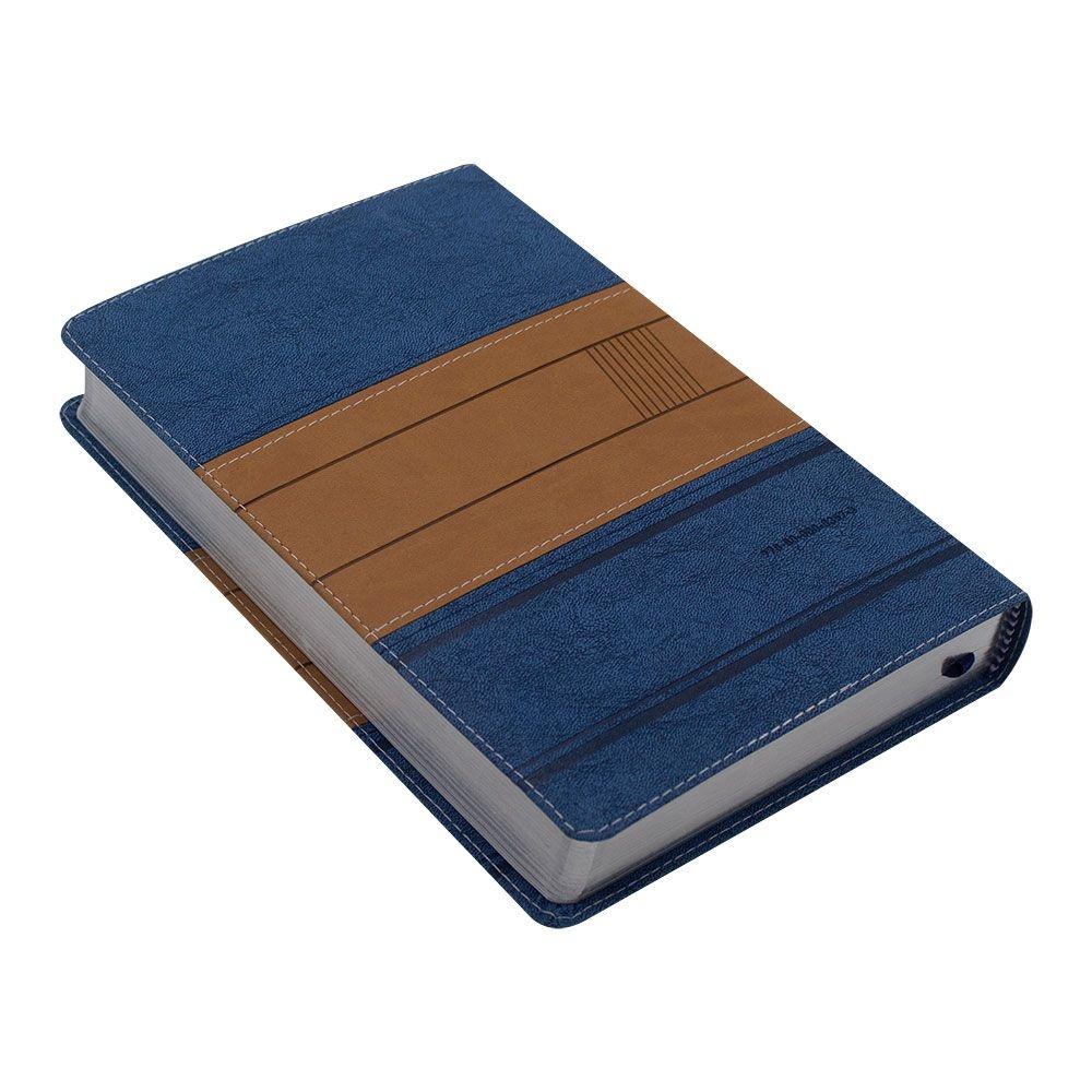 Bíblia A Mensagem   Linguagem Contemporânea   Capa Pu   Azul E Bege