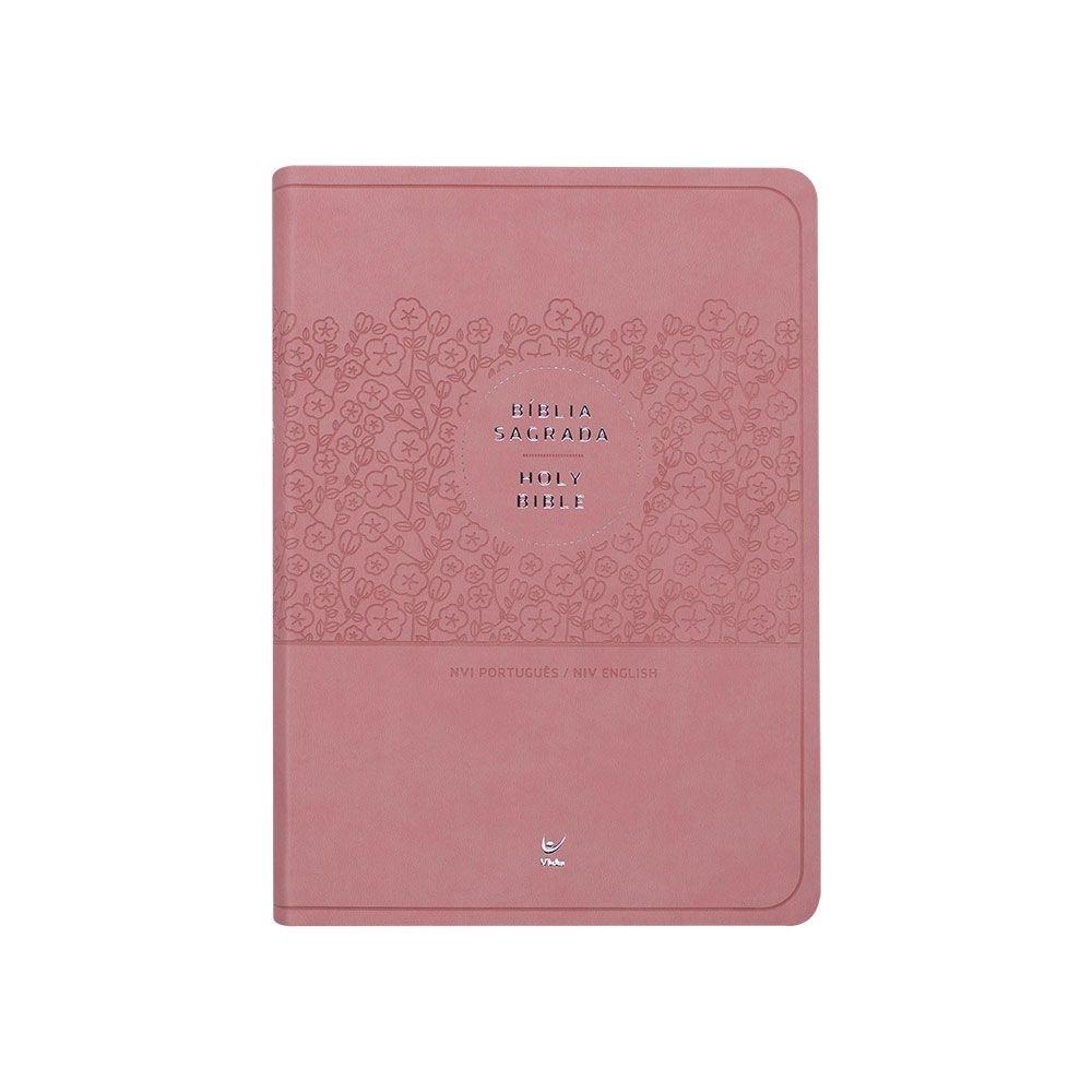 Bíblia Bilíngue Português E Inglês   NVI   Capa Pu   Rosa