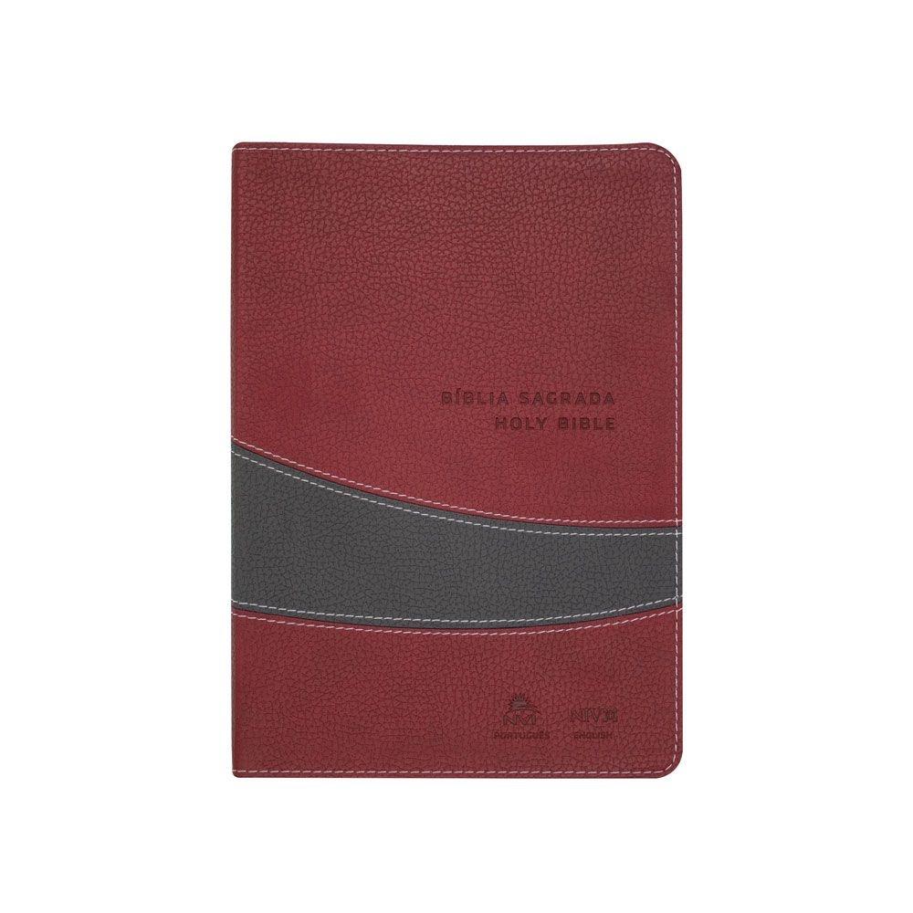 Bíblia Bilíngue Português e Inglês | NVI | Luxo | Capa Pu Vinho e Cinza