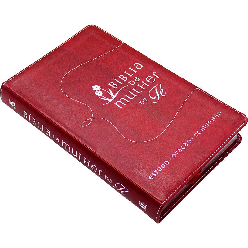 Bíblia Da Mulher De Fé   NVI   Capa Couro Soft   Vermelha