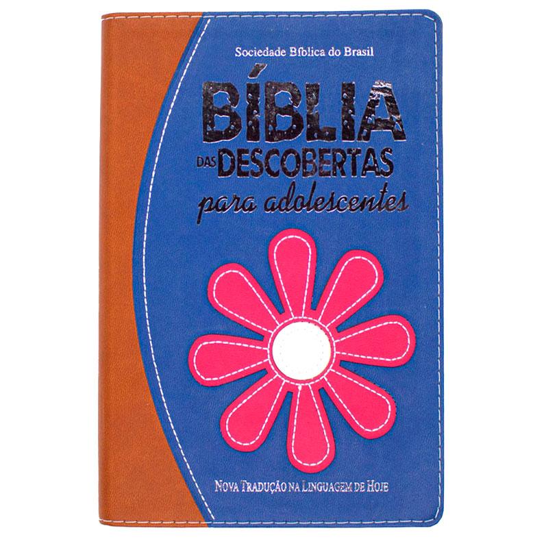 Bíblia Das Descobertas Para Adolescentes Flor   NTLH   Capa Luxo   Marrom E Lilás