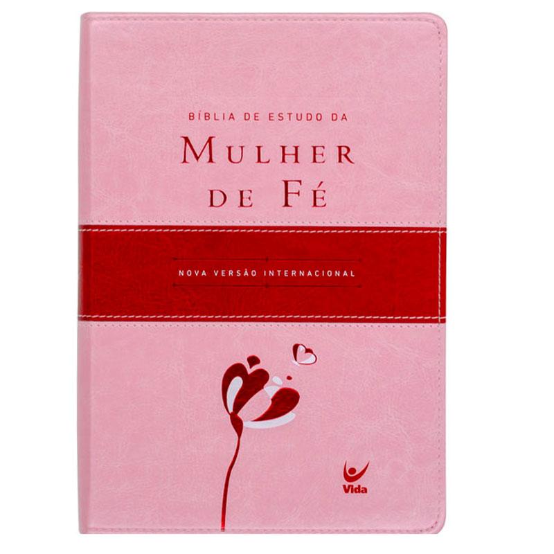 Bíblia De Estudo Da Mulher De FÉ   NVI   Capa Pu   Rosa Claro E Vinho