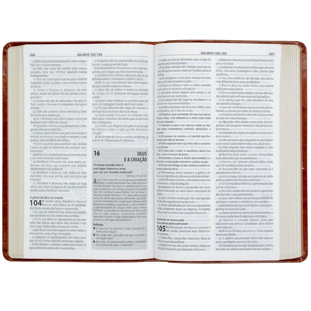 Bíblia De Estudo Esperança   Almeida Século 21   Couro Sintético   Marrom