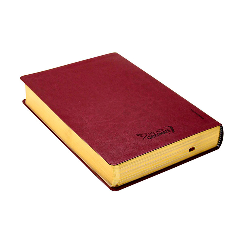 Bíblia De Estudo John Wesley   NAA   Couro Sintético   Vinho